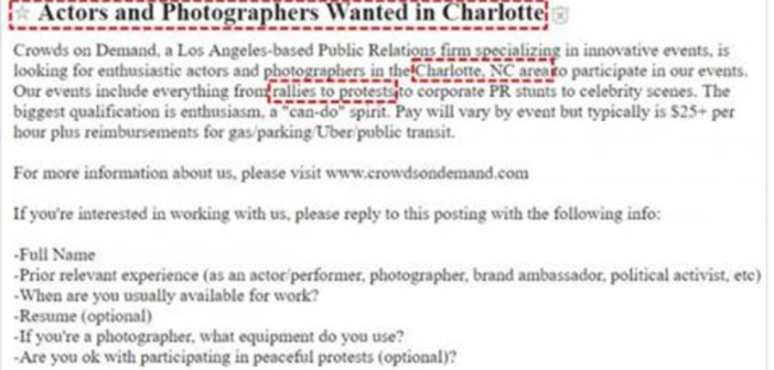 Why Was This 'Crowd Hire' Company Recruiting $25 An Hour 'Political Activists' In Charlotte Last Week?